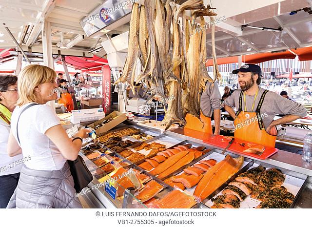 Salmon and seafood stall at the Fish Market, Bergen, Norway