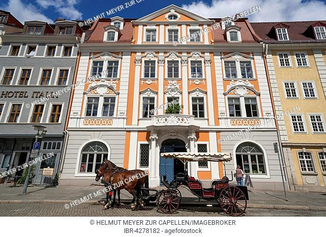 Baroque Napoleonhaus building, horse-drawn carriage in front, Görlitz, Upper Lusatia, Saxony, Germany