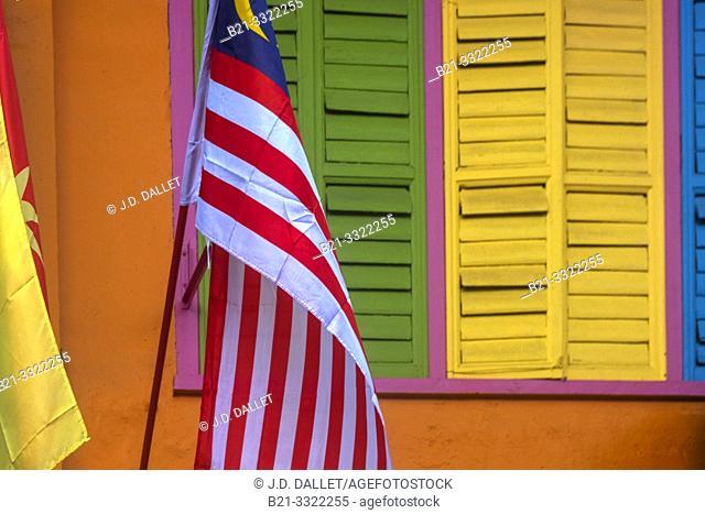 Malaysia, Kuching Sarawak, house detail on Jalan Pearl
