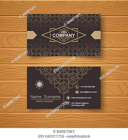 Template of the empty business card on a wooden table. The card with the Celtic pattern. Vector illustration