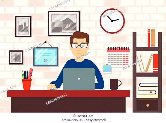 Man With Laptop In Modern and Stylish Workspace