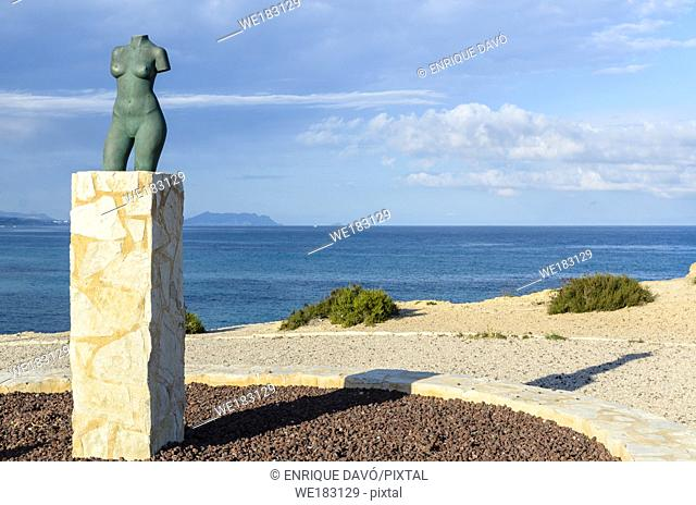 View of a statue close to Campello port, Alicante province, Spain