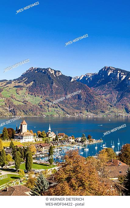 Switzerland, Canton of Bern, Spiez, Lake Thun and Spiez Castle