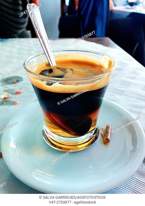 Carajillo, coffee with rum and cinnamon typical lunches Valencia, Carcaixent, Valencia, Spain. Europe