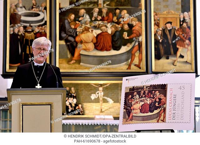 The chairman of the Council of the Evangelical Church in Germany, Heinrich Bedford-Strohm, speaks in front of the Cranach altar during a presentation event for...