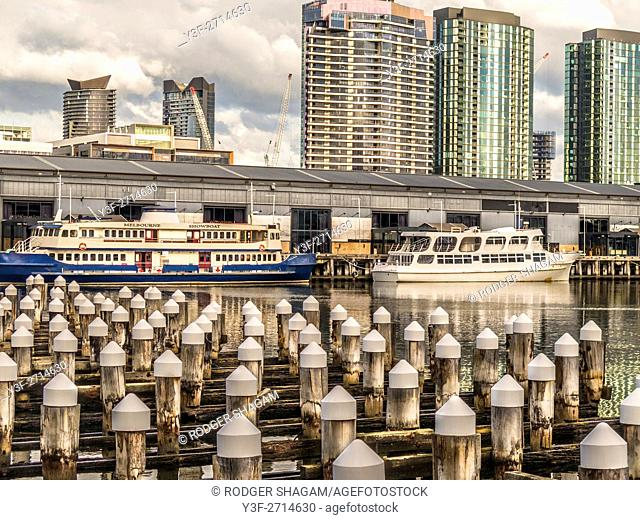 Cruising boats moored at Docklands, Melbourne, Australia