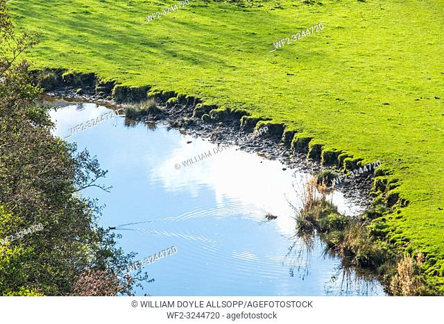 Erosion of a river bank caused by livestock coming to drink