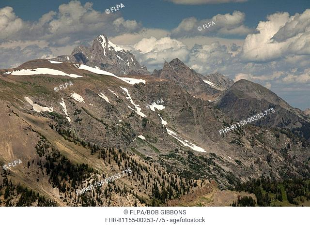 View of highest peaks in park, including Grand Teton 13770 ft , 4197 m , Grand Teton N P , Wyoming, U S A