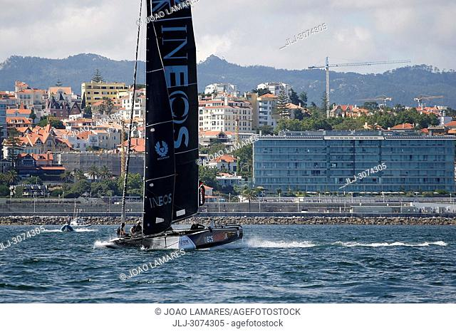Sailing: Ineos Rebels UK with Will Aloway as a Skipper. Extremesailing round 4 at Baia de Cascais, Cascais, Portugal.