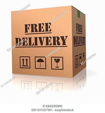 shipping package free delivery cardboard parcel with text order shipment logistics after online shopping deliver packet or relocation and moving