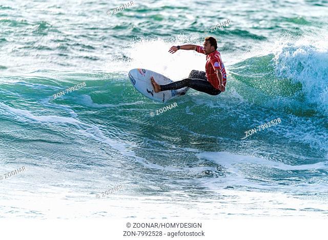 PENICHE, PORTUGAL - OCTOBER 30, 2015: Vasco Ribeiro (POR) during the Moche Rip Curl Pro Portugal, Men's Samsung Galaxy Championship Tour #10