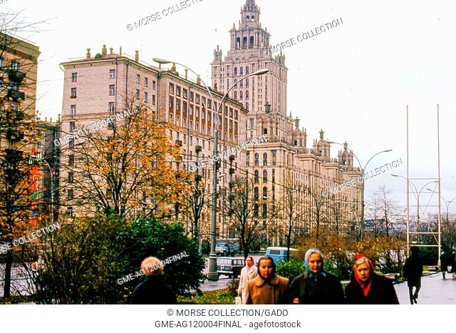 View facing northeast of the Hotel Ukraina (Radisson Royal Hotel), located on a bend of the Moskva River, in Moscow, Soviet Russia, USSR, November, 1973