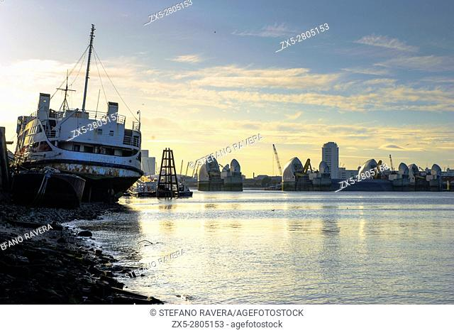 Thames movable flood barrier and the Royal Iris, Woolwich, London