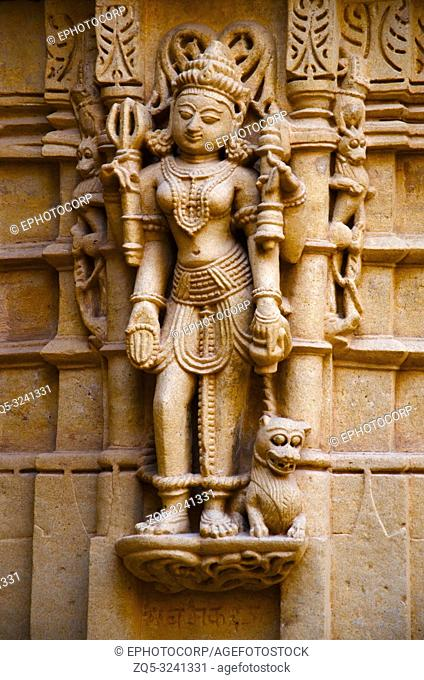Beautifully carved idols, Jain Temple, situated in the fort complex, Jaisalmer, Rajasthan, India