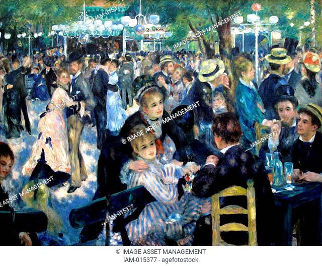 Pierre August Renoir 1841-1919 French painter . Dance at Le Moulin de la Galette Bal du moulin de la Galette, 1876 Oil on canvas