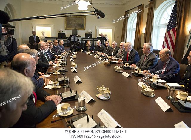 United States President Donald J. Trump speaks during a meeting with members of his Cabinet and Prime Minister Haider al-Abadi of Iraq at the White House in...
