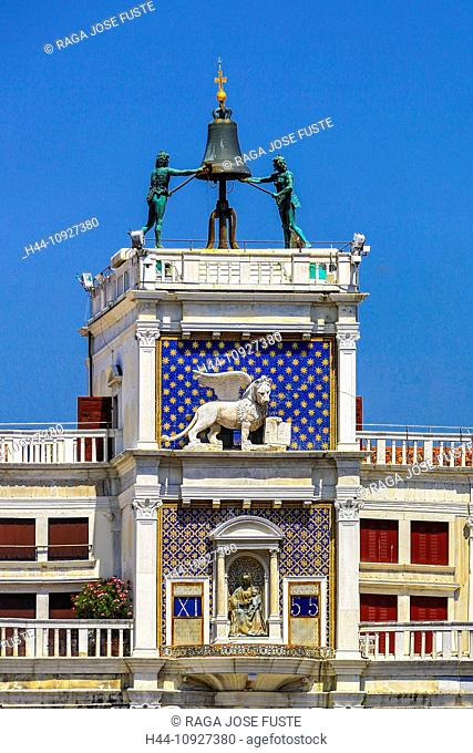 Italy, Europe, travel, Venice, San Marco, Square, Clock Tower, bell, clock, history, lion, symbol