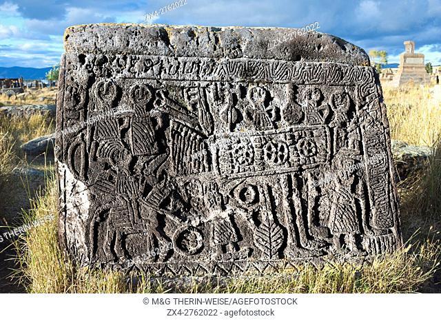 Medieval Khachkars carved memorial stele, Wedding stone, Noratus cemetery, Sevan Lake, Gegharkunik province, Armenia, Caucasus, Middle East, Asia