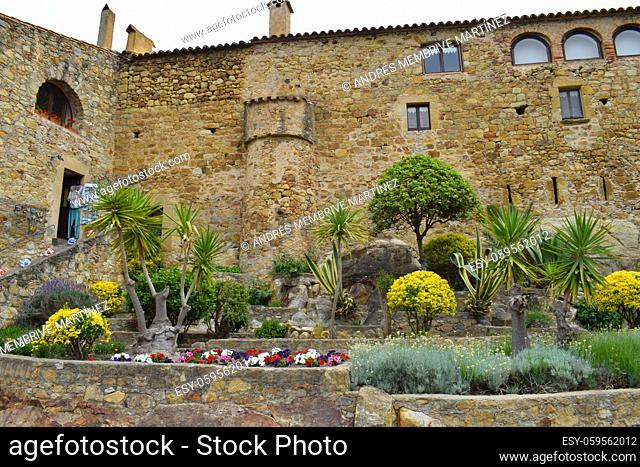 Streets and houses of the medieval village Pals, Gerona Catalonia Spain