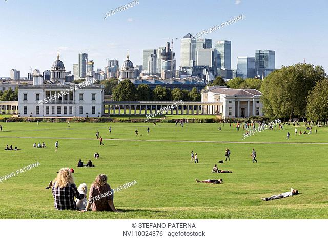 National Maritime Museum, Greenwich and Canary Wharf office complex, London, United Kingdom