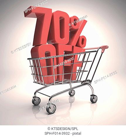 Shopping trolley with 70 per cent off sign, illustration