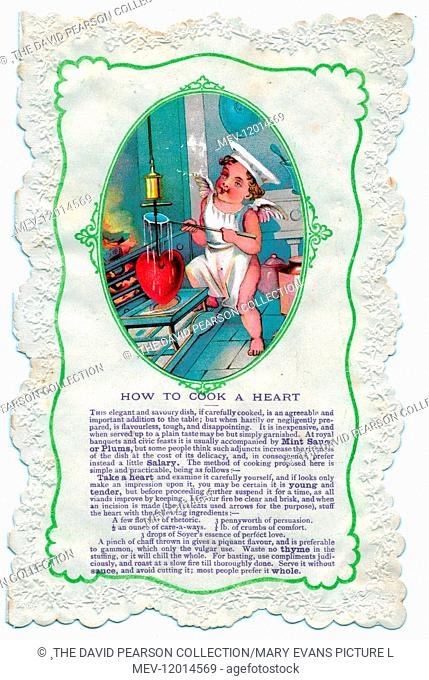 Cupid with culinary guidance, How to Cook a Heart, on a comic Valentine card