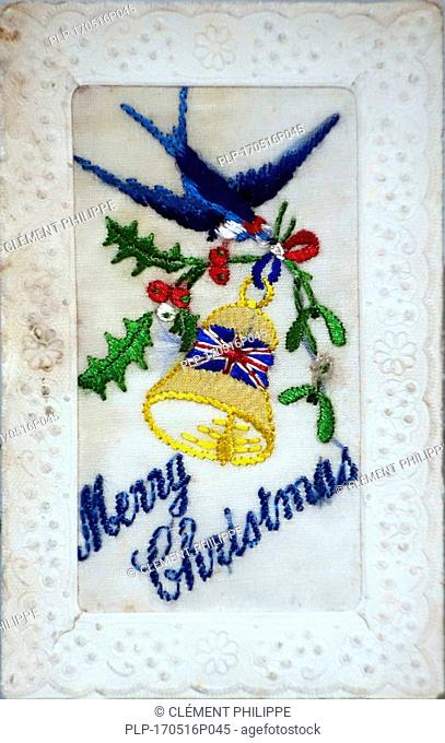 Embroidered silk Christmas card with Merry Christmas greetings from the First World War, hand-embroidered in coloured thread