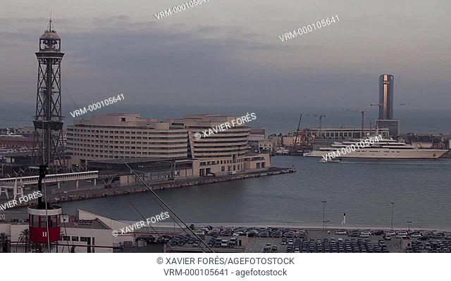 View of Teleferic, Hotel W and harbour in Barcelona city, Spain