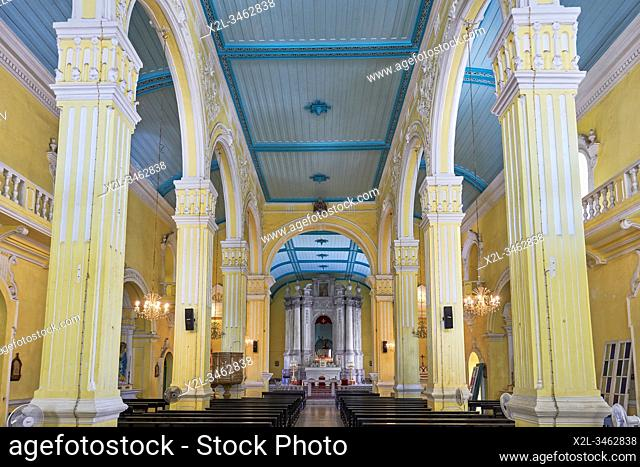 Interior view of the St. Augustine's Church, first established by Spanish Augustinian priests in 1591. Macau, China