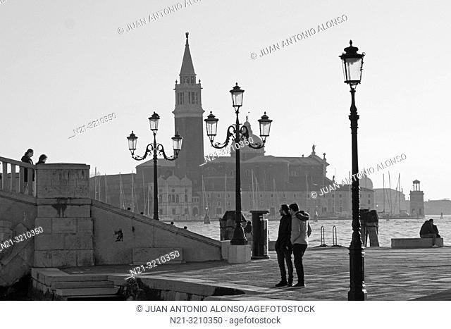 San Giorgio Maggiore as seen from the Riva San Biagio. Venice, Veneto, Italy, Europe