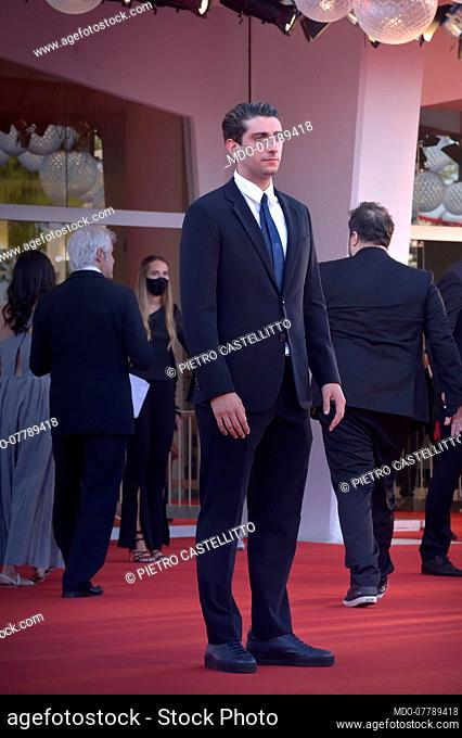 Italian actor and director Pietro Castellitto at the 77 Venice International Film Festival 2020. Closing ceremony red carpet