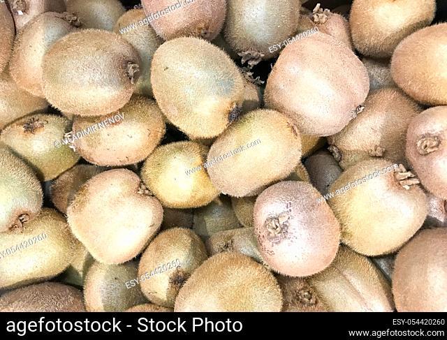 Close-up of kiwifruit on the market. Healthy fresh food background