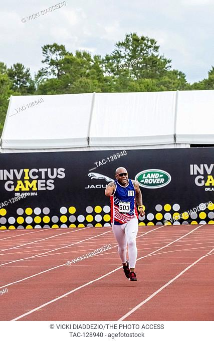 Michael Smith of the USA competes in a track event during the Invictus Games on May 10, 2016 at ESPN Wide World of Sports Complex in Orlando, FL