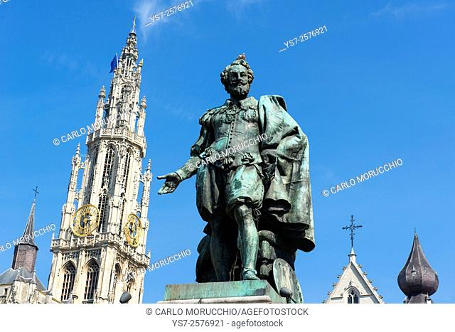 Peter Paul Rubens statue and the Cathedral of Our Lady, Antwerp, Belgium, Europe