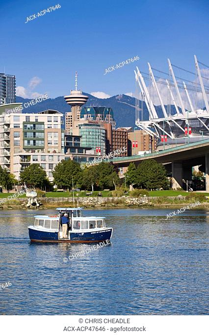 City skyline with new retractable roof on BC Place Stadium, False Creek, Vancouver, British Columbia, Canada