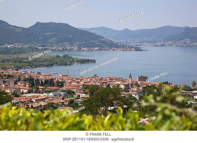 Italy, Lombardy, Lake Iseo, Iseo & View of Lake