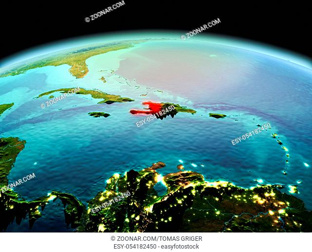 Morning above Haiti highlighted in red on model of planet Earth in space. 3D illustration. Elements of this image furnished by NASA