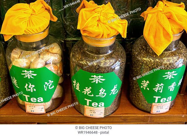 Jars of loose tea leaves in a tea shop