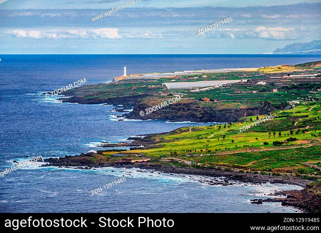 Ocean shore with waves in Tenerife, Canary Islands