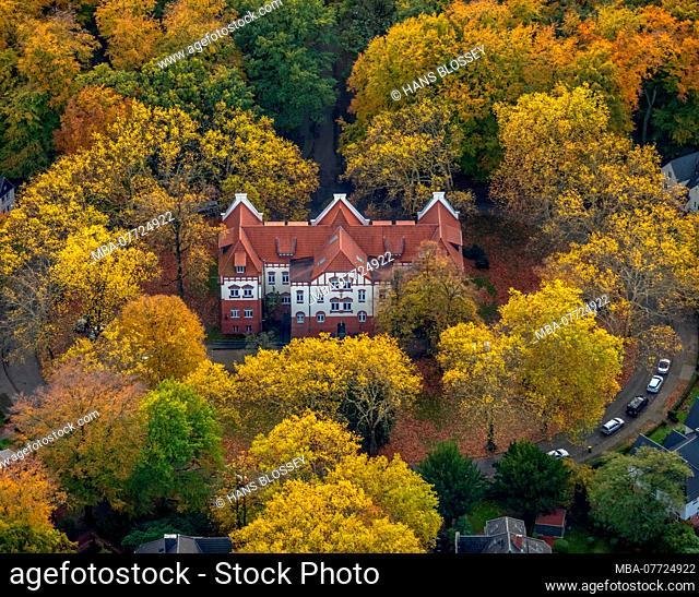 Aerial shots, music school of the city of Gladbeck, woodland Bernskamp, autumn wood, broad-leaved trees in heart form, Gladbeck, Rentfort, Gladbeck, Ruhr area
