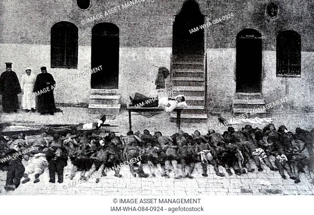 Photograph of massacred Armenians, killed by Ottoman soldiers in Aleppo. Dated 20th Century