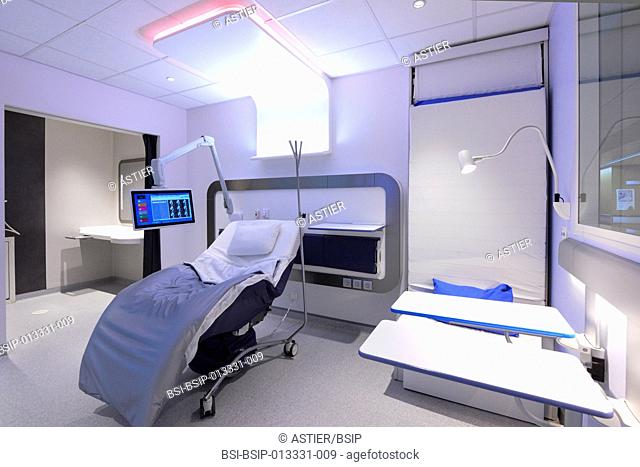 HOSPITAL ROOM. Concept room prototype designed by Lille hospital and Clubster Santé in France. The hospital room of the future provides ergonomic fittings...