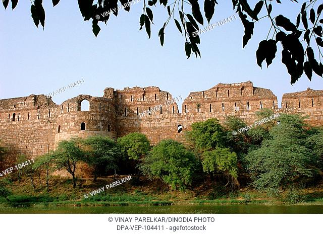 Purana Quilla , Old Fort , main entrance wall with adjoining lake , New Delhi , India
