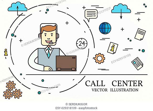 Call center thin line design. Vector