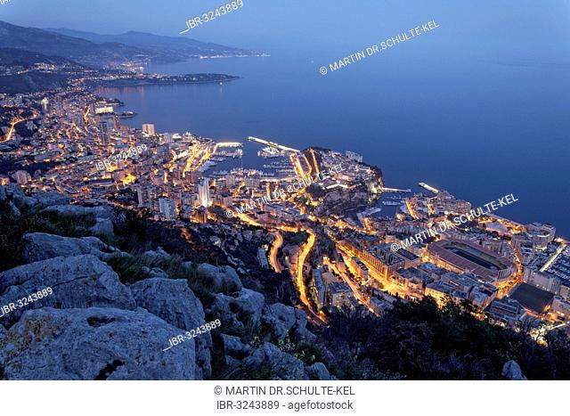 View from Tête de Chien over the Principality of Monaco, evening mood