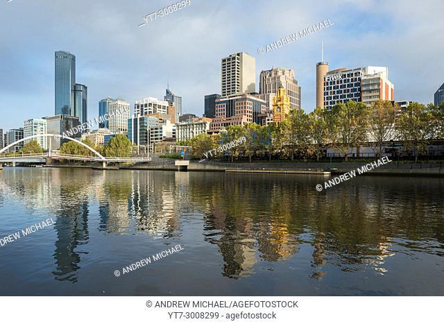 Melbourne city skyline of the Yarra river. Victoria, Australia