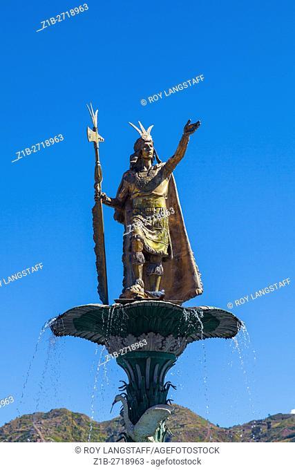 The Pachacuti fountain in the centre of the Plaza de Armas, Cusco, Peru