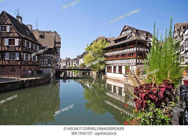 Right Maison des Tanneurs or Gerwerstub restaurant on the river Ill, Petit France, Strasbourg, Alsace, France, Europe