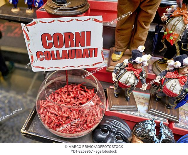 Naples Campania Italy. Lucky horns on sale in Spaccanapoli downtown quarter