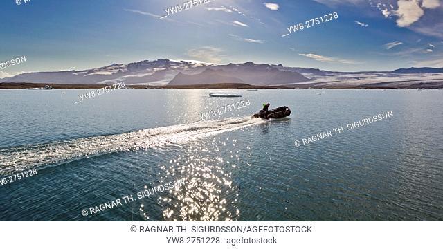 Raft on the Jokulsarlon Glacial Lagoon, Breidamerkurjokull Glacier, Vatnajokull Ice Cap, Iceland
